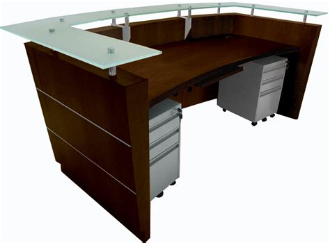 Glass Top Reception Desk Glass Top Walnut Welcome Desk
