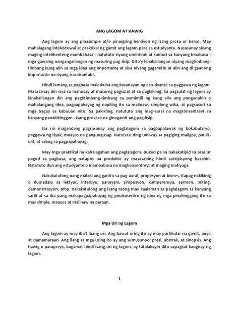 abstrak ng thesis filipino ang lagom at hawig