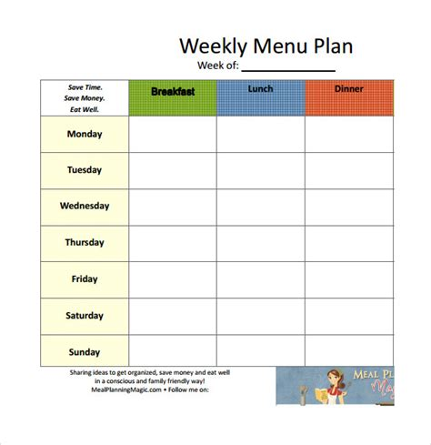 sle weekly lesson plan template sle weekly meal plan template 14 free documents in
