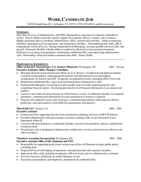 executive administrative assistant resume sle 1 sle resume template senior exe