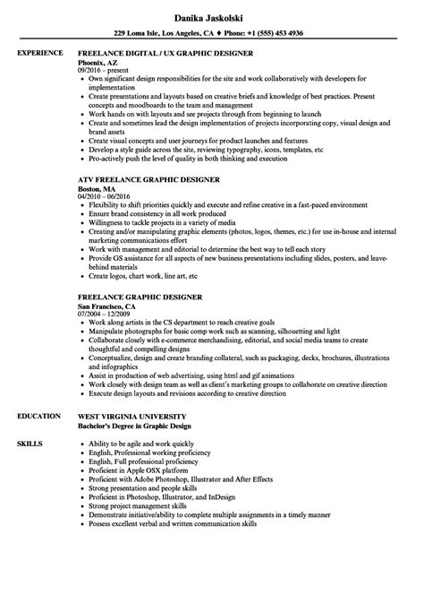 freelance graphic design resume template freelance graphic designer resume sles velvet