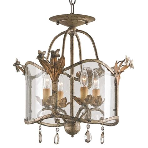 Glass Panel Chandelier Flush Mount Glass Panels Small 4 Light Chandelier Kathy Kuo Home