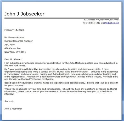 Automotive Service Technician Cover Letter by Auto Mechanic Cover Letter Template Career