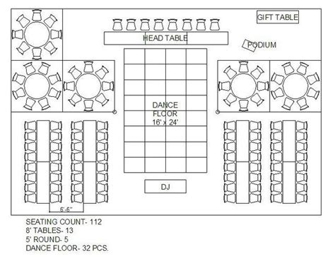 layout wedding venue mixing round and rectangular tables receptions