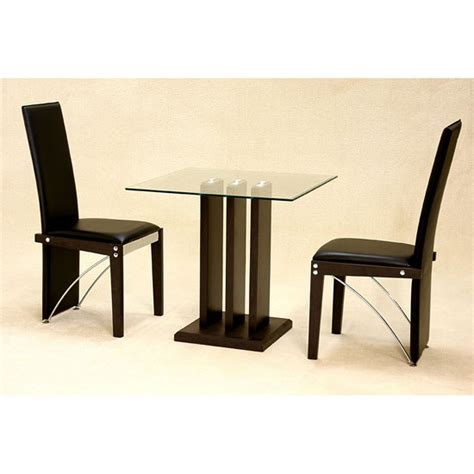 troy clear glass 2 seater dining set 7287 furniture in