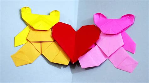 youtube tutorial origami love origami love bears valentine s day heart card teddy bear