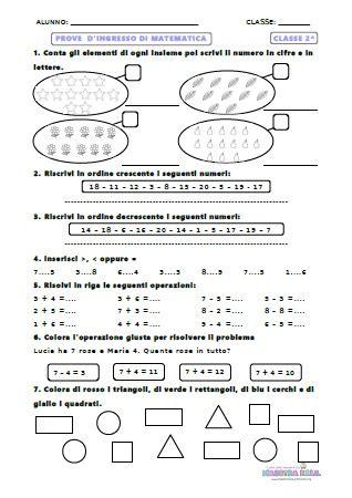 test ingresso seconda media matematica prove di ingresso matematica classe 2 classe seconda