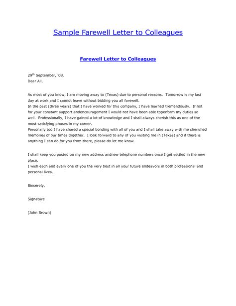 farewell letter to colleagues template sle farewell letter to colleaguesgoodbye letter formal