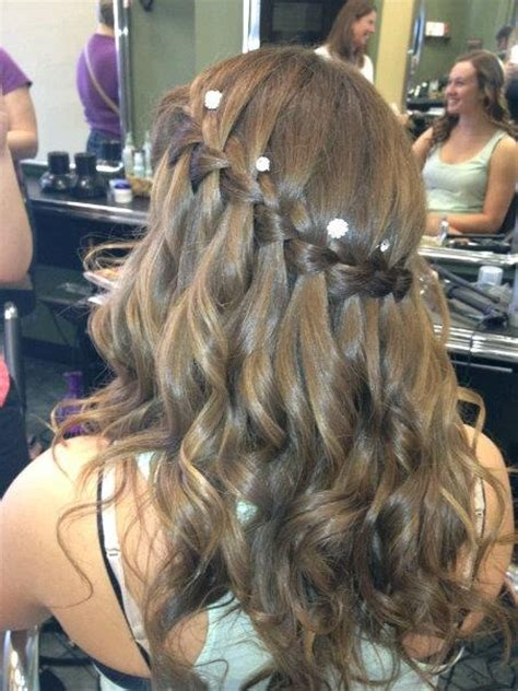 prom hairstyles with hewels grad hair waterfall braid curls jewels me pinterest