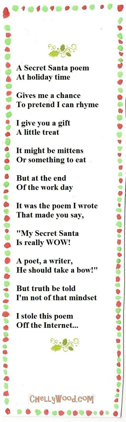 poems for late xmas gifts poem for secretsanta secretpalteachers secret santa secret santa