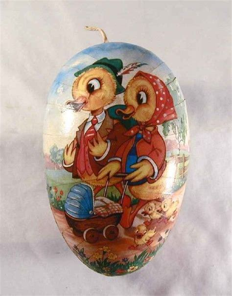 Large Paper Mach 233 Easter - vintage large paper mache container easter egg with