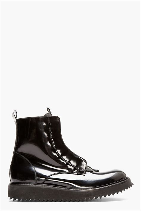 Patent Leather by Damir Doma Black Patent Leather Fusco Boots In Black For