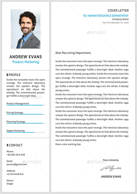 resume cover letter by ocsenttdd graphicriver