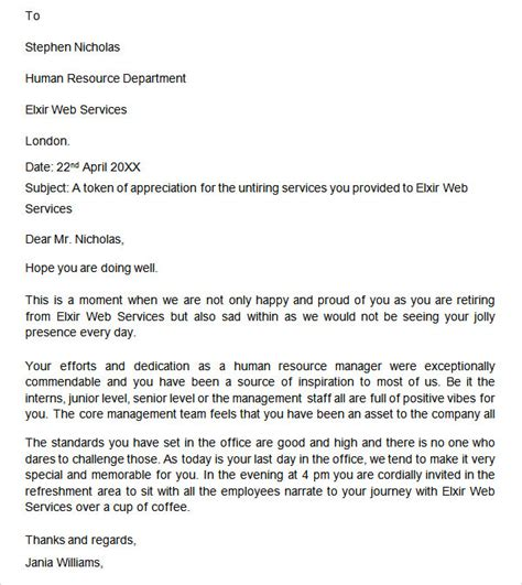 appreciation letter for retiring employee retirement letter 17 free documents in pdf word