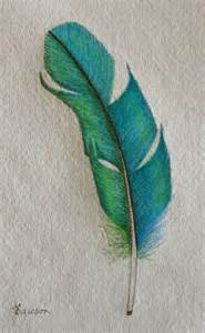 easy colored pencil drawings teal feather original coloured pencil drawing