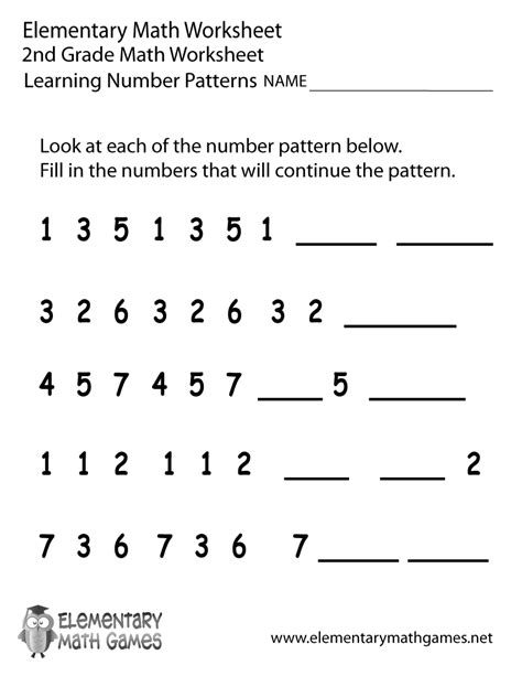 pattern activities stage 2 2nd grade number patterns worksheet printable png lesson