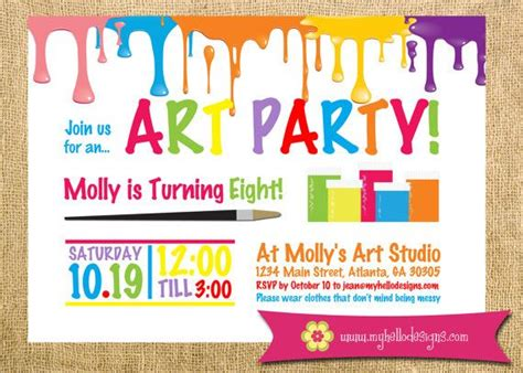 free printable art birthday invitations printable art party invitation paint drips party