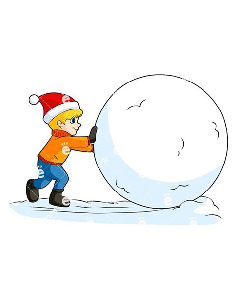 snowball clipart boy rolling a snowball at vector clipart