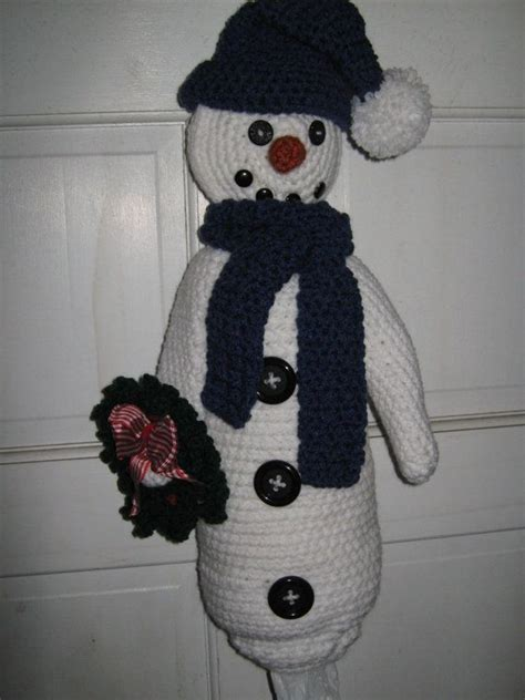 crochet pattern for trash bag holder crochet plastic bag garbage bag holder storage snowman