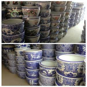 large chinease blue and white ceramic decorative planters pot for indoor and outdoor buy large