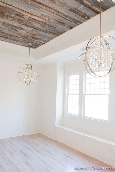 weathered wood ceiling alabaster walls girls bedroom stikwood weathered wood