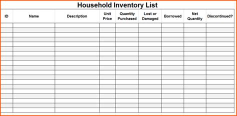 editable inventory checklist template to help you moving