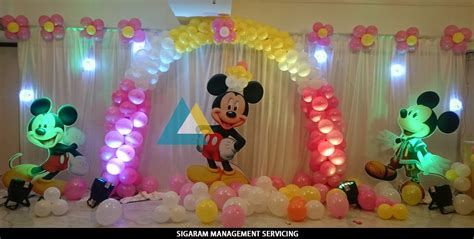 birthday decoration in home mickey mouse themed birthday decoration le royal park
