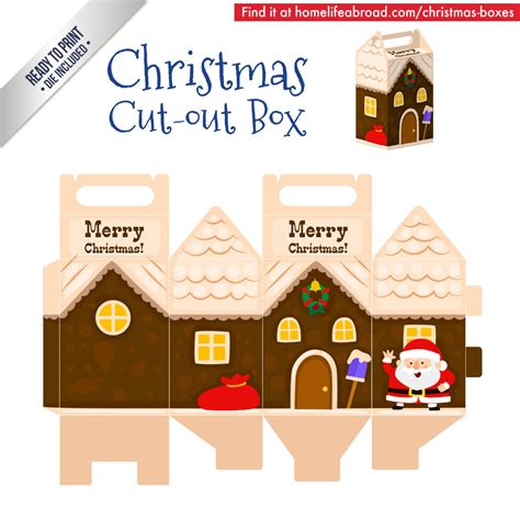 christmas santa house cut out box with ready to print