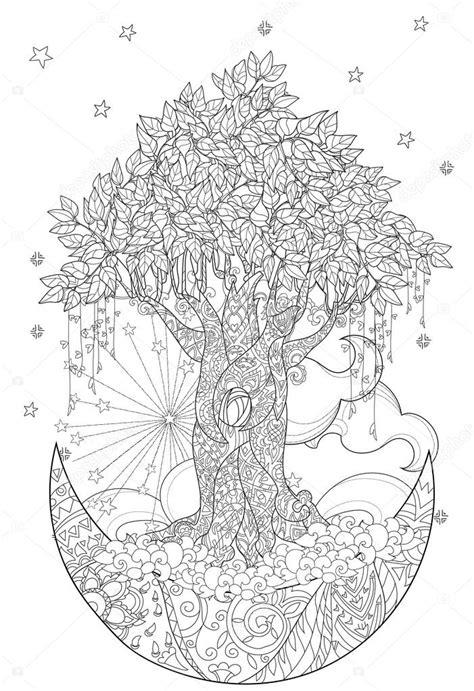 Árvore de conto de fadas bonito da floresta mágica