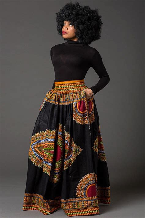 african attire skirt black dashiki maxi skirt african print skirt for women by