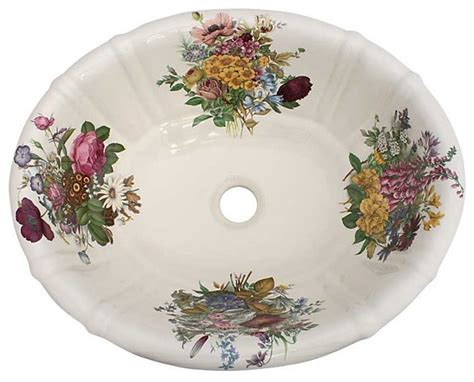 floral bathroom sinks victorian garden floral painted sink traditional bathroom sinks las vegas by