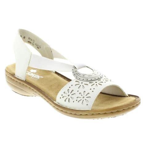 white slip on sandals rieker womens white leather slip on sandals 60886 80 at