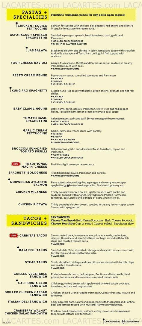 6 of 6 price lists menus california pizza kitchen 01