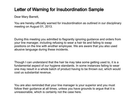Explanation Letter For Insubordination Letter Of Warning