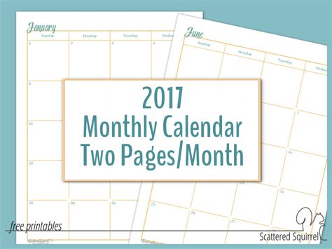 free printable 2016 2 page monthly calendar 5 5 x 8 5 2017 full size monthly calendars two pages per month
