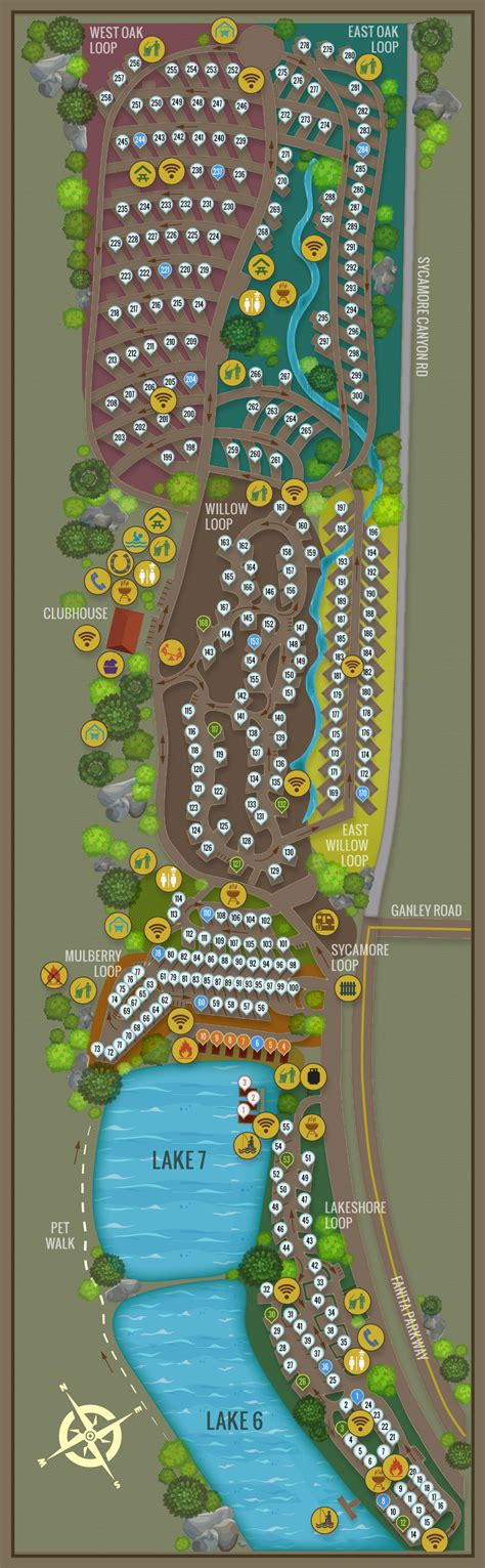 campsite map  santee lakes