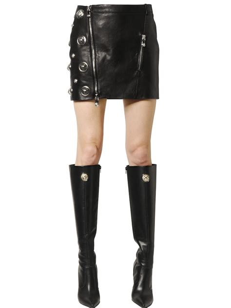 versus studded nappa leather mini skirt in black lyst