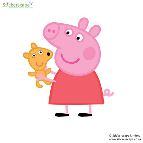 peppa pig wall stickers peppa pig with teddy wall sticker stickerscape uk