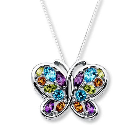 butterfly necklace multi gemstone sterling silver