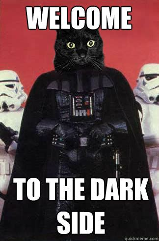 Side By Side Meme - welcome to the dark side darth vader cat quickmeme
