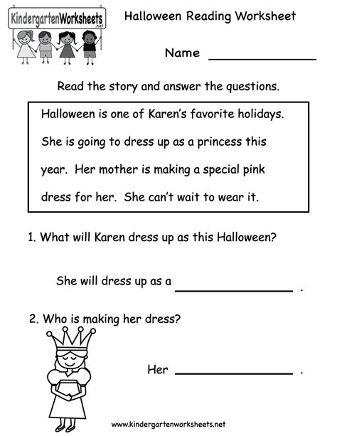 activities for kindergarten reading kindergarten halloween reading worksheet printable free