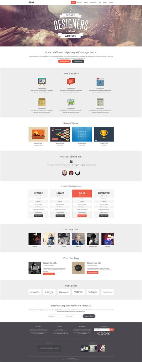 Start Responsive One Page Template By Yoarts Themeforest Start Page Template