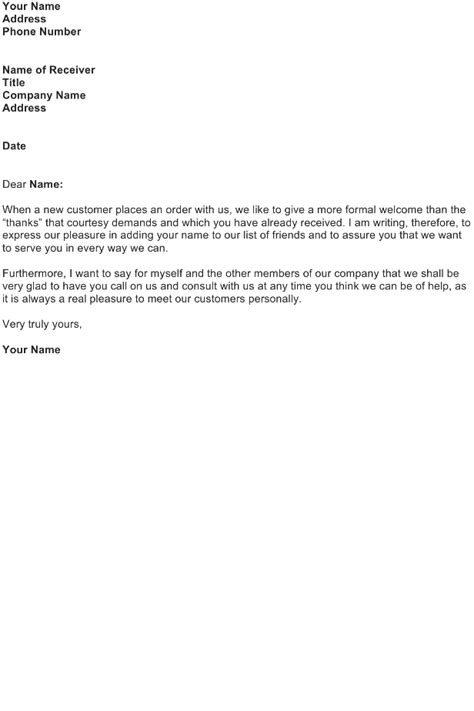 Customer Welcome Letter Template Welcome Letter Sle Page 5 Of 5 Sle Business Letters Templates And Forms