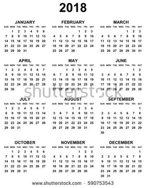 simple editable vector calendar 2017 2018 stock vector