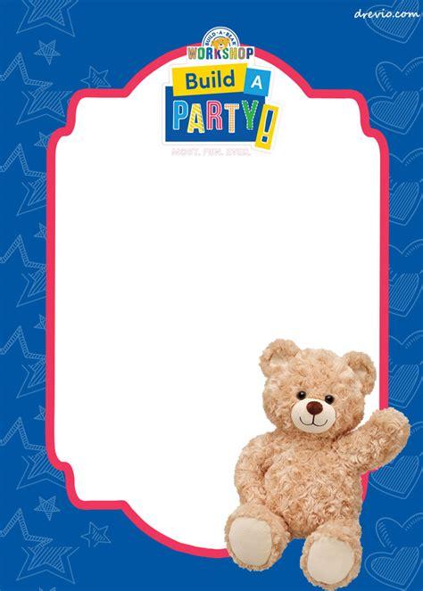 build a free build a bear birthday invitation template drevio