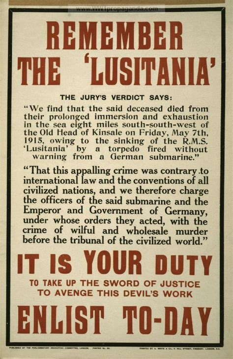 ww1 sinking of the lusitania remember the lusitania propaganda poster encourages people