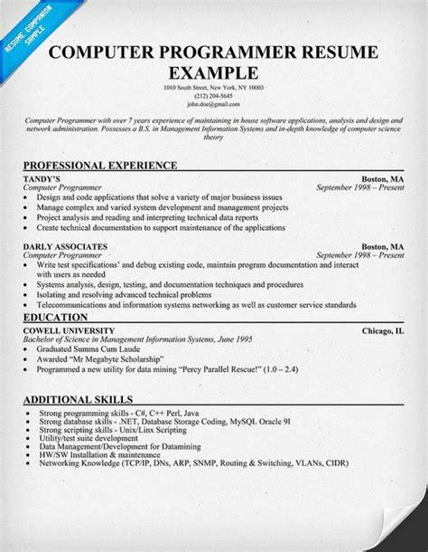 cv design programmer resume for computer programmer http jobresumesle