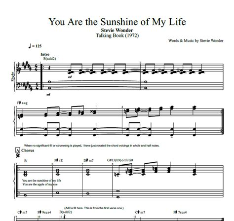 you are my sunshine lyrics printout midi and video quot you are the sunshine of my life quot by stevie wonder