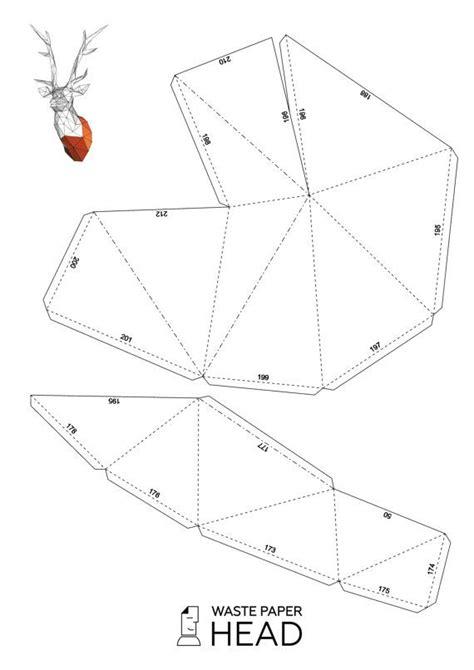 Papercraft Deer Head 1 Printable Diy Template By Wastepaperhead Kağıt Karton 3 Boyutlu Papercraft Deer Template