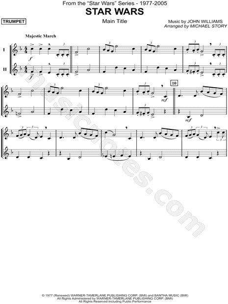 printable star wars theme song violin print and download star wars main theme trumpet duet